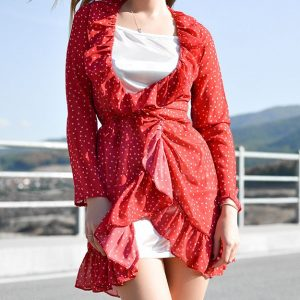 Red dress with white dots